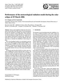 Performance of the Meteorological Radiat... by Psiloglou, B. E.
