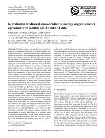 Reevaluation of Mineral Aerosol Radiativ... by Balkanski, Y.