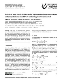 Technical Note: Analytical Formulae for ... by Kokkola, H.