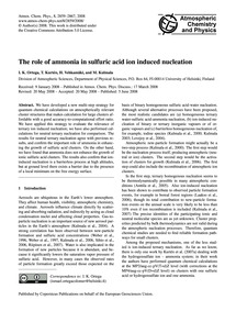 The Role of Ammonia in Sulfuric Acid Ion... by Ortega, I. K.