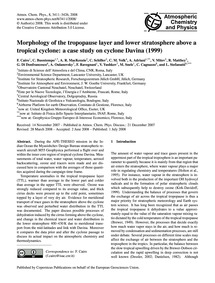 Morphology of the Tropopause Layer and L... by Cairo, F.