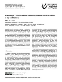 Modelling Uv Irradiances on Arbitrarily ... by Hess, M.