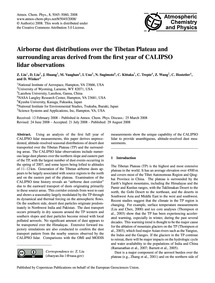 Airborne Dust Distributions Over the Tib... by Liu, Z.