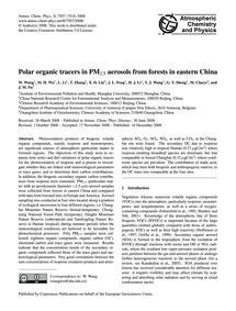 Polar Organic Tracers in Pm2.5 Aerosols ... by Wang, W.