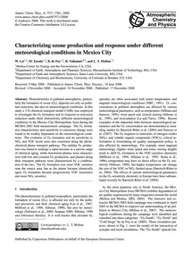 Characterizing Ozone Production and Resp... by Lei, W.