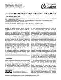 Evaluation of the Meris Aerosol Product ... by Vidot, J.
