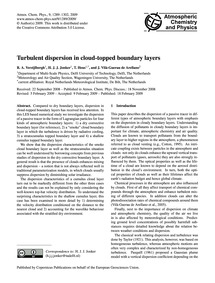 Turbulent Dispersion in Cloud-topped Bou... by Verzijlbergh, R. A.