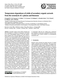 Temperature Dependence of Yields of Seco... by Saathoff, H.
