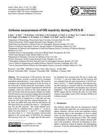 Airborne Measurement of Oh Reactivity Du... by Mao, J.