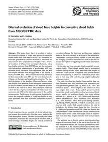 Diurnal Evolution of Cloud Base Heights ... by Meerkötter, R.