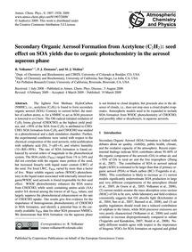 Secondary Organic Aerosol Formation from... by Volkamer, R.