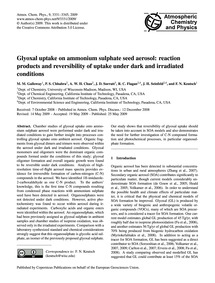 Glyoxal Uptake on Ammonium Sulphate Seed... by Galloway, M. M.