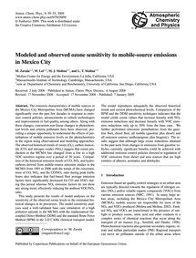 Modeled and Observed Ozone Sensitivity t... by Zavala, M.