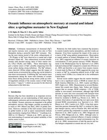Oceanic Influence on Atmospheric Mercury... by Sigler, J. M.
