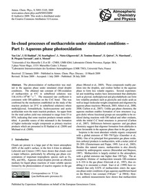 In-cloud Processes of Methacrolein Under... by Yao Liu, I.