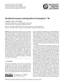 Meridional Transport and Deposition of A... by Heikkilä, U.