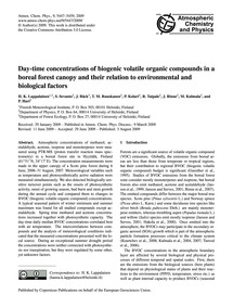 Day-time Concentrations of Biogenic Vola... by Lappalainen, H. K.