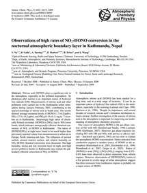 Observations of High Rates of No2-hono C... by Yu, Y.