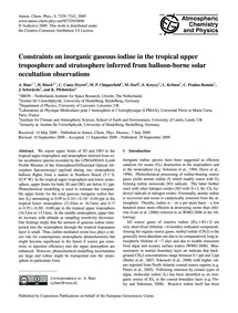 Constraints on Inorganic Gaseous Iodine ... by Butz, A.