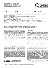 Sulfuric Acid and Oh Concentrations in a... by Petäjä, T.