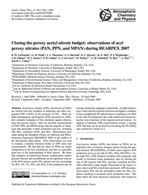 Closing the Peroxy Acetyl Nitrate Budget... by Lafranchi, B. W.