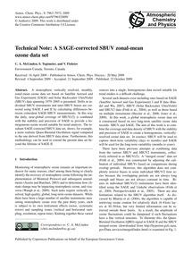 Technical Note: a Sage-corrected Sbuv Zo... by McLinden, C. A.