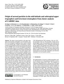 Origin of Aerosol Particles in the Mid-l... by Köppe, M.