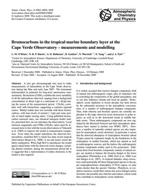 Bromocarbons in the Tropical Marine Boun... by O'Brien, L. M.