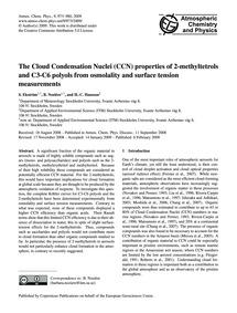 The Cloud Condensation Nuclei (Ccn) Prop... by Ekström, S.