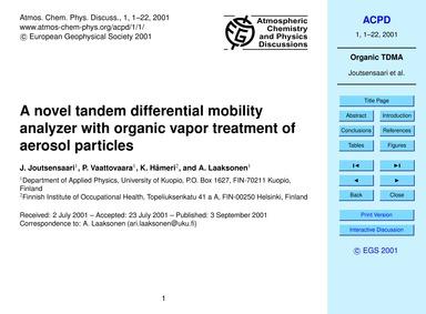 A Novel Tandem Differential Mobility Ana... by Joutsensaari, J.