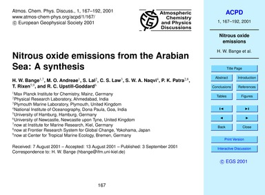 Nitrous Oxide Emissions from the Arabian... by Bange, H. W.