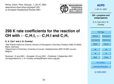 298 K Rate Coefficients for the Reaction... by Carl, S. A.