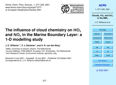The Influence of Cloud Chemistry on HoX ... by Williams, J. E.