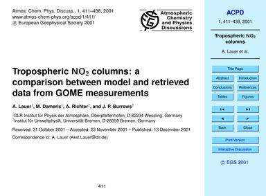 Tropospheric No2 Columns: a Comparison B... by Lauer, A.