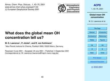 What Does the Global Mean Oh Concentrati... by Lawrence, M. G.