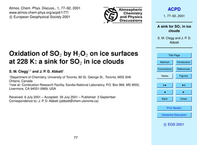 Oxidation of So2 by H2O2 on Ice Surfaces... by Clegg, S. M.