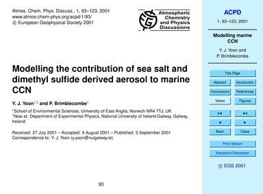 Modelling the Contribution of Sea Salt a... by Yoon, Y. J.
