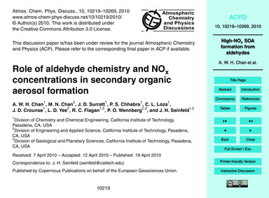 Role of Aldehyde Chemistry and NoX Conce... by Chan, A. W. H.