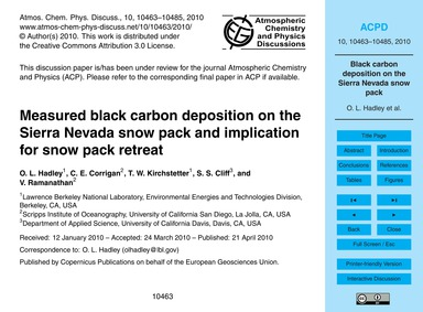 Measured Black Carbon Deposition on the ... by Hadley, O. L.