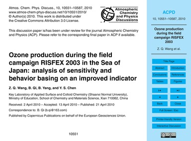 Ozone Production During the Field Campai... by Wang, Z. Q.