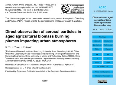 Direct Observation of Aerosol Particles ... by Li, W. Y.
