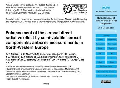 Enhancement of the Aerosol Direct Radiat... by Morgan, W. T.