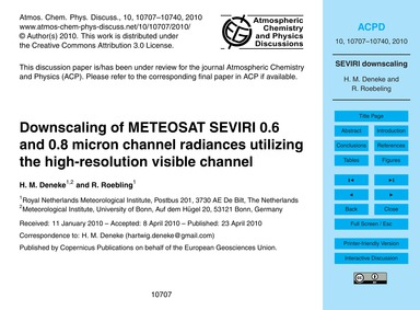 Downscaling of Meteosat Seviri 0.6 and 0... by Deneke, H. M.