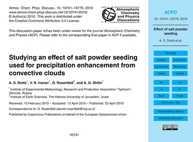 Studying an Effect of Salt Powder Seedin... by Drofa, A. S.