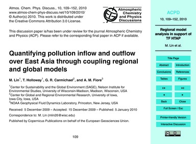 Quantifying Pollution Inflow and Outflow... by Lin, M.