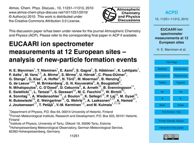 Eucaari Ion Spectrometer Measurements at... by Manninen, H. E.