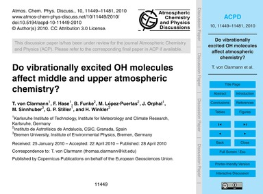 Do Vibrationally Excited Oh Molecules Af... by Von Clarmann, T.