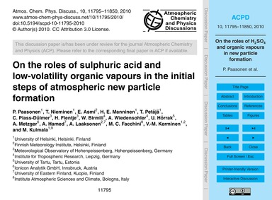 On the Roles of Sulphuric Acid and Low-v... by Paasonen, P.