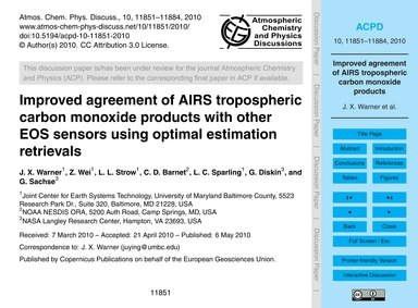 Improved Agreement of Airs Tropospheric ... by Warner, J. X.