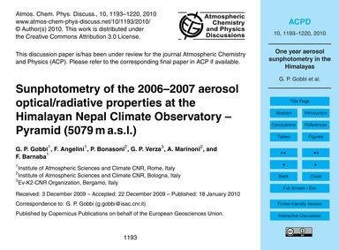 Sunphotometry of the 2006–2007 Aerosol O... by Gobbi, G. P.